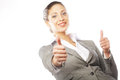 Attractive business woman giving thumbs up portrait of over white background Stock Images