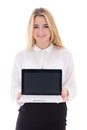 Attractive business woman showing laptop isolated on white background Royalty Free Stock Photography