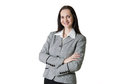 Attractive business woman smiling portrait in office beautiful young against of white Royalty Free Stock Photography