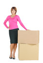 Attractive businesswoman with big boxes picture of Stock Photos