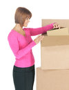 Attractive businesswoman with big boxes picture of Stock Image