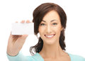 Attractive businesswoman with business card picture of Royalty Free Stock Image