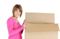 Attractive businesswoman with cardboard box picture of Royalty Free Stock Photography