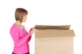 Attractive businesswoman with cardboard box picture of Royalty Free Stock Images