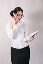 Attractive businesswoman with eyeglasses thumb up portrait of atractive Stock Photography