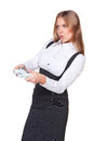 Attractive businesswoman playing a video game Stock Photo