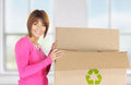 Attractive businesswoman with recyclable box picture of Stock Image
