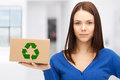 Attractive businesswoman with recyclable box picture of Stock Photography