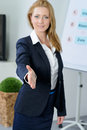 attractive businesswoman shake hand at meeting Royalty Free Stock Photo
