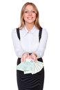 Attractive businesswoman showing money Stock Photos
