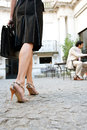 Businesswoman legs walking. Royalty Free Stock Photo