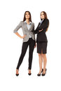 Attractive businesswomen on white background portrait of two young successful isolated Stock Photography