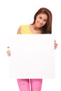 Attractive casual woman with blank poster Royalty Free Stock Photos