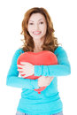 Attractive casual woman holding a baloon heart isolated on white Royalty Free Stock Photography
