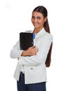 Attractive cheerful businesswoman with folder young on white Royalty Free Stock Photography