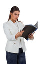 Attractive cheerful businesswoman with folder young on white Royalty Free Stock Image