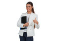 Attractive cheerful businesswoman with folder young on white Stock Photo