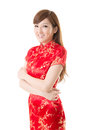 Attractive chinese woman dress traditional cheongsam closeup portrait on white background Stock Photography