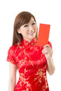 Attractive chinese woman dress traditional cheongsam and hold red envelope closeup portrait on white background Royalty Free Stock Images