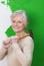 Attractive competent elderly woman with a friendly smile standing holding hammer in front of a half painted wall while doing home Stock Images