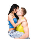 Attractive couple being playful isolated white background Royalty Free Stock Photography