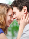 Attractive couple of lovers look at each other with love very Stock Photography