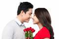 Attractive couple of lovers look at each other with love Royalty Free Stock Photo
