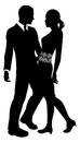 Attractive couple silhouette fashion design of an young embracing Royalty Free Stock Images