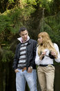 Attractive couple walking outdoors Stock Images