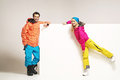 Attractive couple wearing colorful winter clothes fancy Stock Image