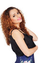 Attractive curly girl smiling on white background Royalty Free Stock Photos