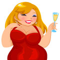 Attractive curvy girl in a red dress holding a glass of drink Royalty Free Stock Images