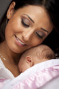 Attractive Ethnic Woman with Her Newborn Baby Royalty Free Stock Images