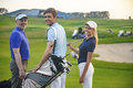Attractive family on golf course Royalty Free Stock Photo