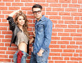 Attractive fashionable couple dressed casual Stock Photos
