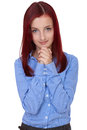 Attractive female beg, ask for something, isolated Royalty Free Stock Photo
