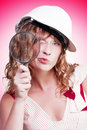 Attractive female building inspector with hardhat Royalty Free Stock Photo