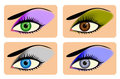 Attractive female eyes with vibrant eye shadow Stock Image