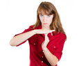 Attractive female making time out sign with hands Royalty Free Stock Photo