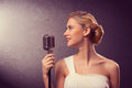 Attractive female singer with microphone a grunge style Stock Photography