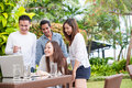Attractive Friends Smiling Outdoor Royalty Free Stock Photo
