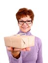 Attractive funny mature woman surprise isoliert Royalty Free Stock Photography