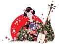 Attractive Geisha Wearing Kimono With Fan And Shamisen.