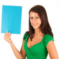 Attractive girl with blue paper un her hands Stock Photo