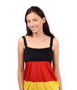 Attractive girl with germany flag blouse isolated on white Stock Photos