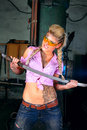 Attractive girl with handmade katana Stock Images