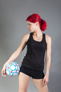 Attractive girl holding soccer ball portrait of Stock Photos