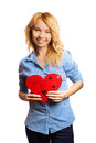 Attractive girl holding Valentine's day decoration Stock Photo