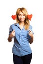 Attractive girl holding Valentine's day decoration Royalty Free Stock Photo