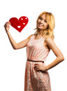 Attractive girl holding Valentine's day decoration Royalty Free Stock Image